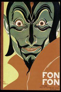 Ilustração de 1920 homem verde com expressão macabra
